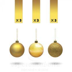 Gömb műanyag 3 féle 8cm arany 9 db-os kiszerelés