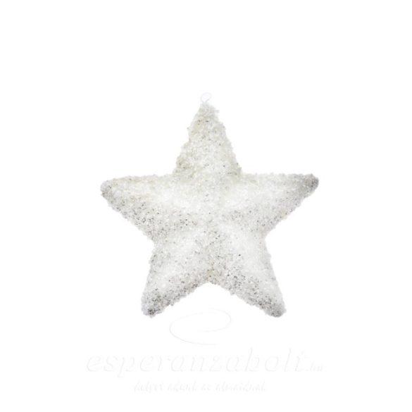 Csillag havas glitteres dísz akasztós műanyag 14cm