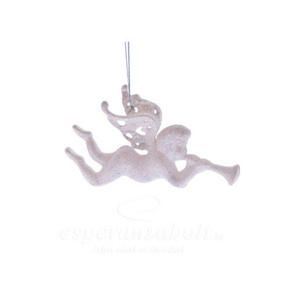 Angyal trombitával csillogó akasztós műanyag 13,5cm fehér