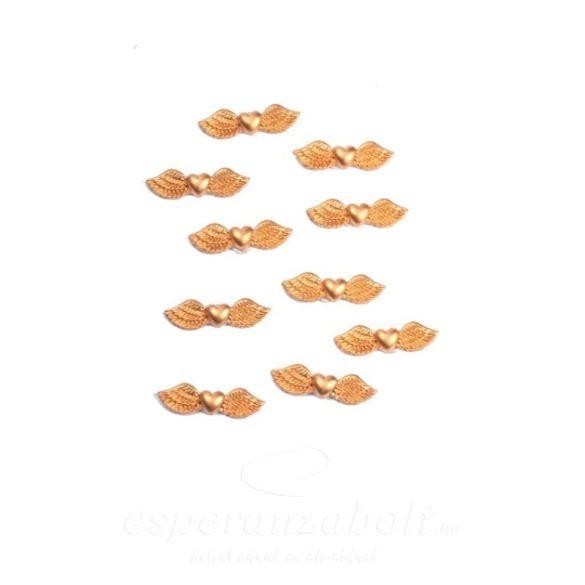 Angyalszárny ragasztós poly 4,2x1,1x0,6cm arany 10db-os kiszerelés
