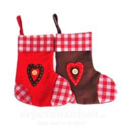 Zokni szívvel textil 20x17cm piros-barna 2db/szett