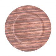 Tál kerek fa mintás műanyag 33cm barna