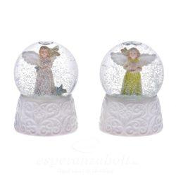 Rázógömb angyalos műanyag 6,5cm fehér-ezüst