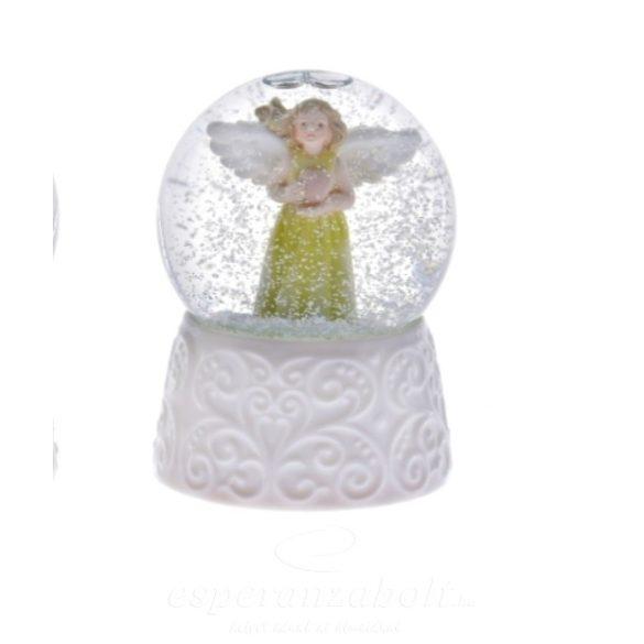 Rázógömb angyalos műanyag 6,5cm fehér 2 féle