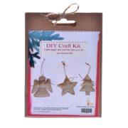 Akasztós dísz angyal csillag fenyőfa textil 9cm natúr 3 féle 3 db-os  karácsonyi ajtódísz