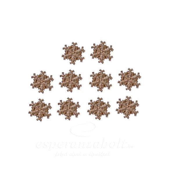 Hópehely ragasztós poly 2,5cm, arany 10db-os kiszerelés