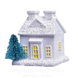 Házikó fenyővel poly 5x4cm, fehér