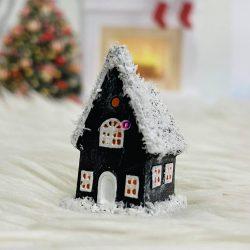 Házikó poly 5x3cm barna-fehér