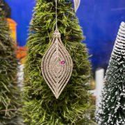 Csepp műanyag 12x6cm pezsgő glitteres karácsonyfadísz