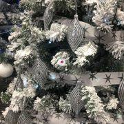 Csepp műanyag 12x6cm ezüst különleges Karácsonyfadísz