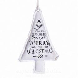 Akasztós dísz fenyőfa felirattal textil 27x14cm fehér