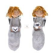 Angyal szívvel ülő poly 4,5x4,5x14,5 cm szürke, barna 2 féle Karácsonyi figura