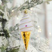 Fagyi műanyag 13cm arany-fehér 3 db-os Figurás karácsonyfadísz