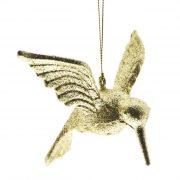 Madár műanyag 9,5 x14 x12 cm arany glitteres karácsonyfadísz