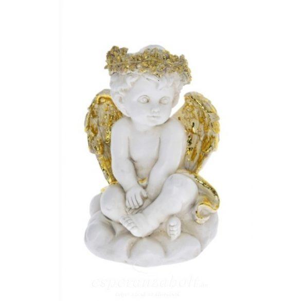 Angyal,LED-es ülő poly 13,5x13,5x20cm fehér-arany 2 féle Karácsonyi figura