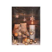Kép korcsolyás led világitással vászon 15x20x1,8cm barna karácsonyi dekoráció