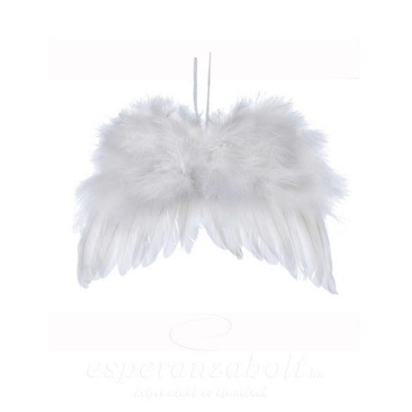 Angyalszárny akasztós tollas 14x11cm fehér