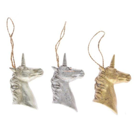 Unikornis akasztós poly 5*3.5*9cm arany,pezsgő, ezüst 3 féle Figurás karácsonyfadísz