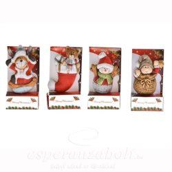 Karácsonyi figura hűtőmágnes poly 4x2,5x5cm színes 4 féle