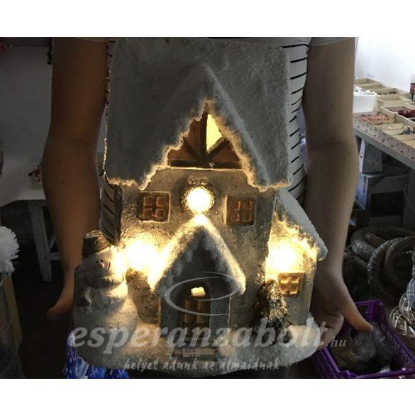 XL Ház ledes világítással elemes poly 31x24x37cm fehér, szürke