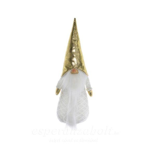 Manó álló arany süveg textil 14x12x45 cm fehér