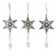 Csillag akasztós kristállyal fém 20cm rosegold-ezüst-arany 3 féle karácsonyi ajtódísz