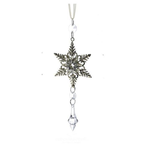 Csillag akasztós kristállyal fém 20cm arany
