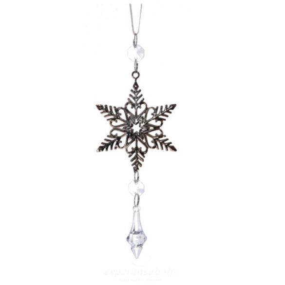 Csillag akasztós kristállyal fém 20cm rosegold