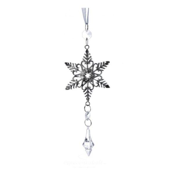 Csillag akasztós kristállyal fém 20cm ezüst