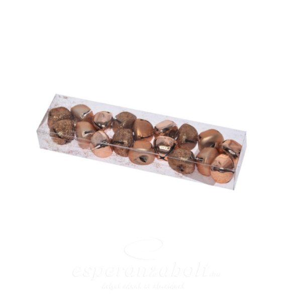 Csengő dobozban fém 2cm rosegold 18 darabos kiszerelés