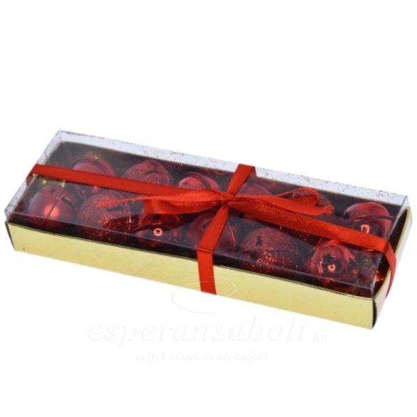 Csengő dobozban fém 2,5cm piros 12darabos kiszerelés