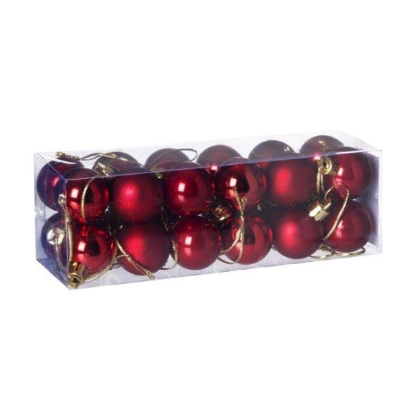 Gömb, dobozban műanyag 3cm piros 3 féle S/24 24db-os kiszerelés