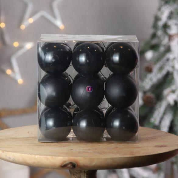 Gömb, dobozban műanyag 5cm fekete 3 féle S/18 18db-os kiszerelés