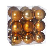 Gömbdísz , dobozban műanyag 5cm narancs 3 féle 18 db-os Karácsonyfa gömb