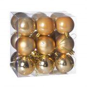 Gömbdísz , dobozban műanyag 5cm méz sárga 3 féle 18 db-os Karácsonyfa gömb