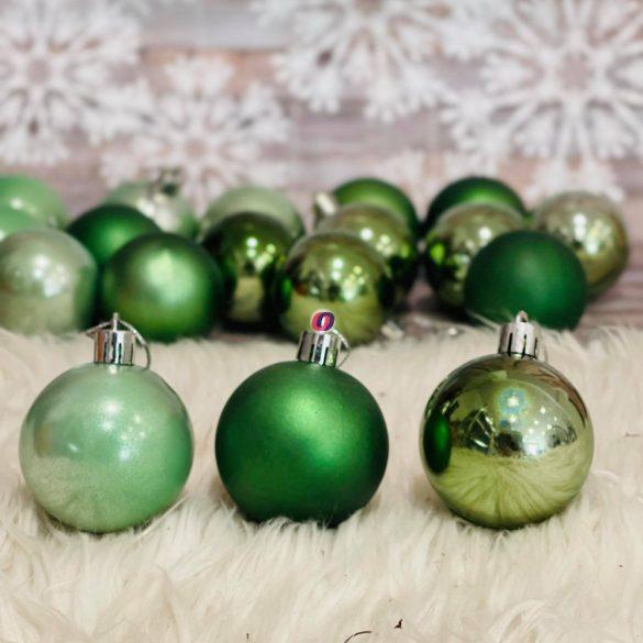 Gömb, dobozban műanyag 5cm türkiz zöld 18db/szett
