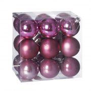 Gömbdísz , dobozban műanyag 5cm pink 3 féle 18 db-os Karácsonyfa gömb