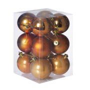 Gömbdísz , dobozban műanyag 6cm narancs 3 féle 12 db-os Karácsonyfa gömb