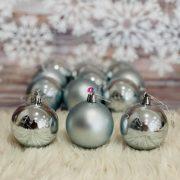 Gömbdísz , dobozban műanyag 6cm világoskék 3 féle 12 db-os Karácsonyfa gömb