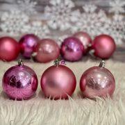 Gömbdísz , dobozban műanyag 8cm rózsaszín 3 féle 9 db-os Karácsonyfa gömb