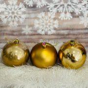 Gömbdísz , dobozban műanyag 8cm óarany 3 féle 9 db-os Karácsonyfa gömb
