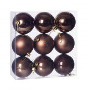 Gömbdísz , dobozban műanyag 8cm barna 3 féle 9 db-os Karácsonyfa gömb
