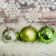 Gömbdísz , dobozban műanyag 8cm türkiz zöld 3 féle 9 db-os Karácsonyfa gömb