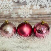 Gömbdísz , dobozban műanyag 8cm pink 3 féle 9 db-os Karácsonyfa gömb