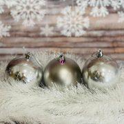 Gömbdísz , dobozban műanyag 8cm ezüst 3 féle 9 db-os Karácsonyfa gömb