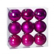 Gömbdísz , dobozban műanyag 8cm magenta 3 féle 9 db-os Karácsonyfa gömb