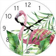 Üveg falióra kerek 30cm flamingó mintával