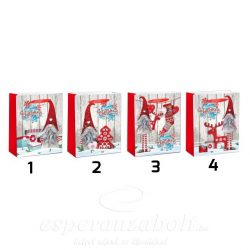 Tasak, karácsonyi papír 26X32X10cm manóval glitteres 4 féle