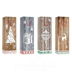 Tasak, karácsonyi papír 12,8X36X8,4cm natúr glitteres 4 féle