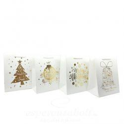 Tasak, karácsonyi papír 18X23X10cm fehér-arany, felirattal 4 féle